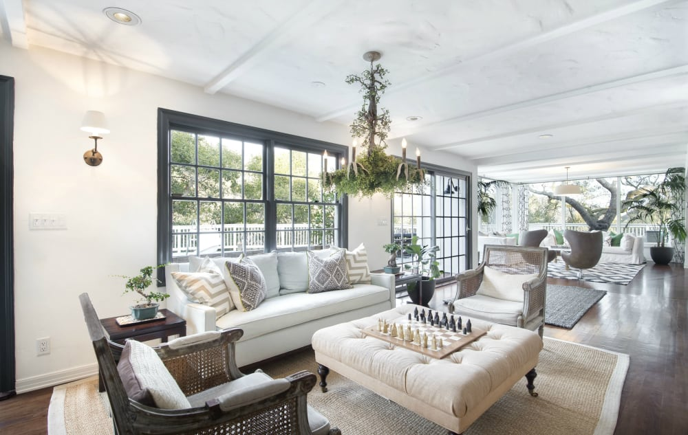 The living room in Olivia Newton-John's Former Ranch-Style home