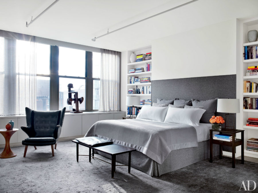 Contemporary bedroom in actor Will Ferrell's New York apartment