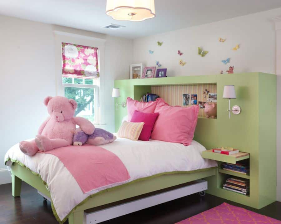 This headboard for a child's room has everything!