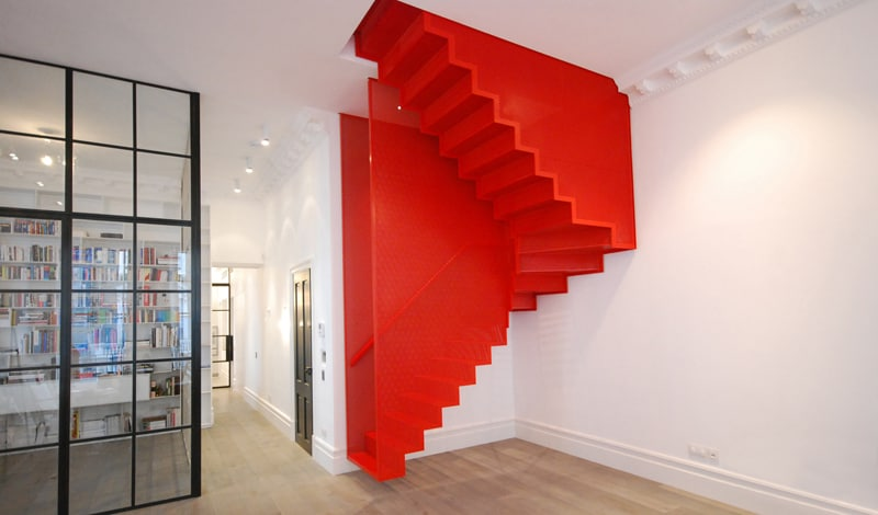 Incroyable Amazing Bespoke Red Hot Perforated Steel Suspended Staircase ...