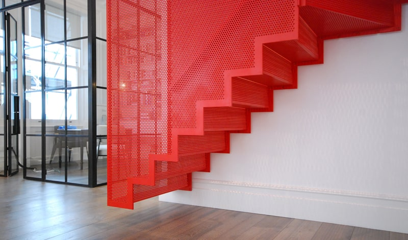 View In Gallery Amazing Bespoke Red Hot Perforated Steel Suspended Staircase