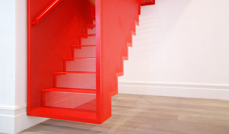 Amazing Bespoke Red Hot Perforated Steel Suspended Staircase ...