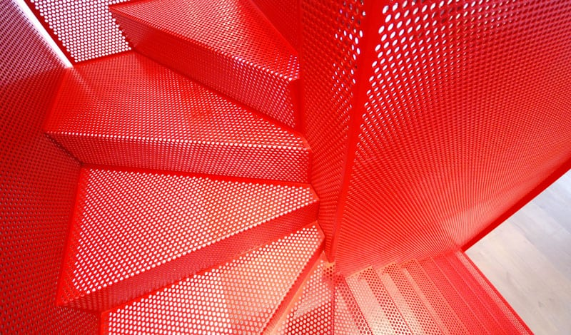 Amazing Bespoke Red Hot Perforated Steel Suspended