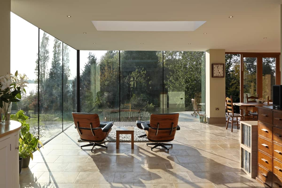 Modern Glass Addition to otherwise Traditional Home on Modern Glass House  id=19628