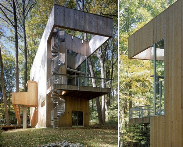 Tree House Design with Winding Staircase Rises to the Challenge