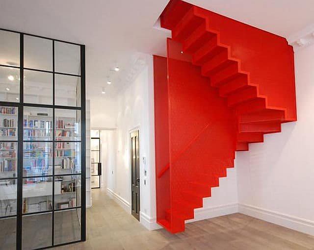 A Bespoke Design, This Bold Red Staircase Is More Than Just A Bright Color,  It Is A Design That Pays Homage To A Art Installation By Do Ho Suh. Part 50