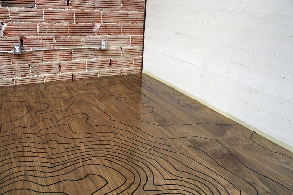 Cnc machine engraved floor with a romantic backstory by kara paslay designs